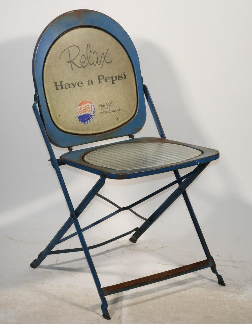 1950s Vintage Pepsi Advertising Metal Folding Chair May 21 2020 Vintage Accents Auctions In Me