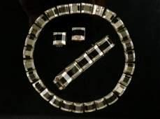 OBSIDIAN STERLING SILVER NECKLACE BRACELET  EARRINGS