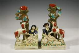PR STAFFORDSHIRE SPILL VASES WITH SPANIELS