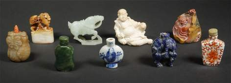 (9) CHINESE SNUFF BOTTLES & CARVINGS