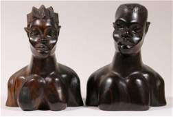 PR OF NIGERIAN CARVED BUSTS OF MAN  WOMAN IN IRONWOOD