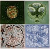 (4) ART NOUVEAU RELIEF ART TILES