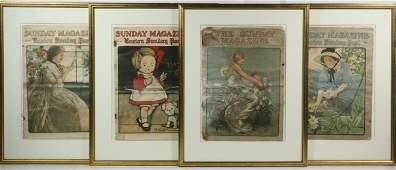 (4) FRAMED BOSTON SUNDAY POST MAGAZINE COVERS