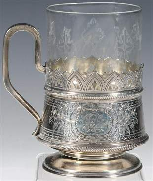 RUSSIAN SILVER CUP HOLDER & GLASS LINER