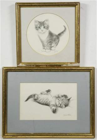 (2) VIRGINIA MILLER CAT PRINTS