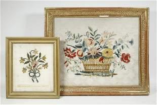 (2) 19TH C. FRENCH FLORAL NEEDLEWORK PCS, FRAMED