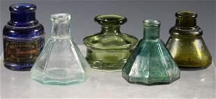 (5) GLASS INK BOTTLES