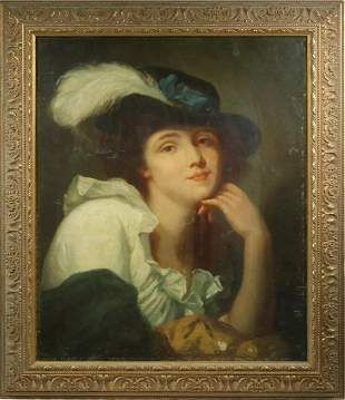19TH C. PORTRAIT OF A CAVALIER GIRL