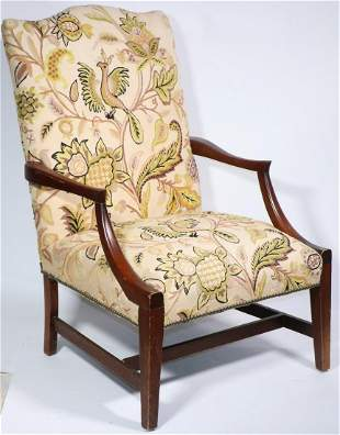 19TH C. AMERICAN CREWELWORK UPHOLSTERED MARTHA