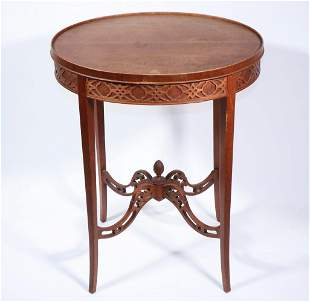 EARLY 20TH C. CHINESE CHIPPENDALE STYLE OVAL TEA TABLE