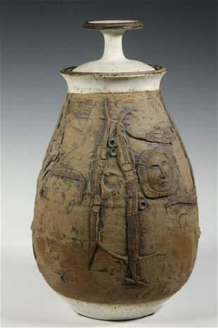 DON JOHNS STUDIO ART POTTERY LIDDED JAR