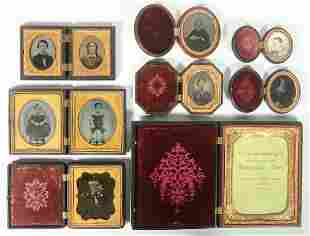 (8) 19TH C. GUTTA PERCHA PHOTOGRAPH CASES, SOME WITH