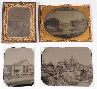 (4) EARLY AMBROTYPE LANDSCAPE PHOTOS