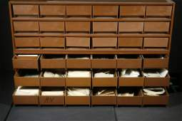 STAMPS: (2) METAL CABINETS OF (18) SMALL DRAWERS EACH