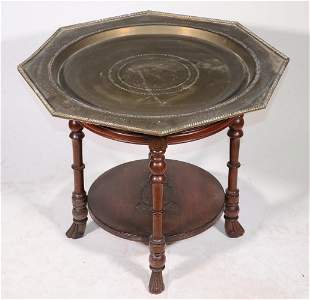 BENCH-MADE OCCASIONAL TABLE WITH BRASS TRAY TOP