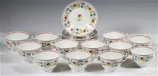 (17 PCS) ENGLISH FLORAL CUPS & SAUCERS