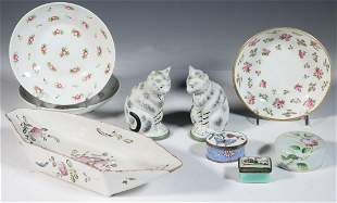 (9 PCS) PORCELAIN ITEMS & ENAMEL BOXES
