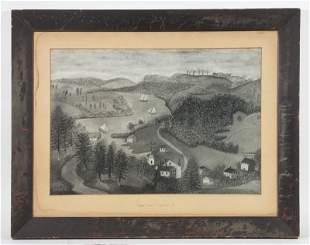 FOLK ART VIEW OF RIVER NEAR NORWICH, CONNECTICUT, CIRCA