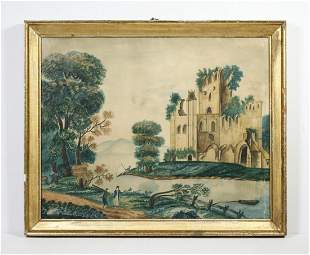 LATE 19TH C. ENGLISH NAIVE LANDSCAPE FROM DAVID