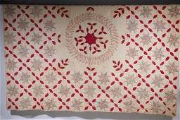 """VINTAGE RED & WHITE EIGHT-POINTED STAR QUILT - 76 1/4"""""""