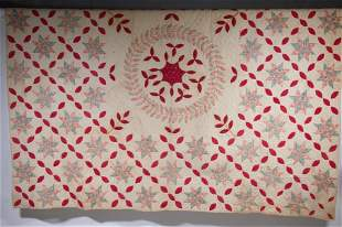 VINTAGE RED & WHITE EIGHT-POINTED STAR QUILT - 76 1/4""