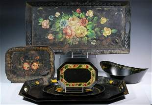 (8) TOLE PAINTED TRAYS