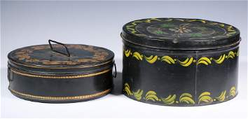 (2) PAINTED TIN BOXES