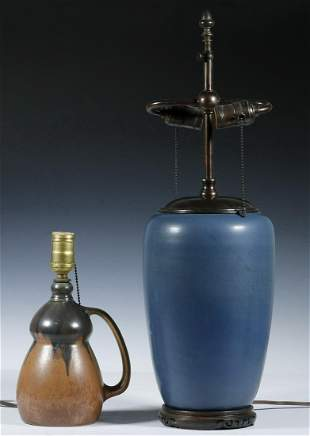 (2) ART POTTERY TABLE LAMPS