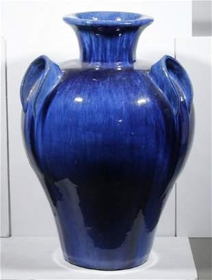 BLUE GLAZED STONEWARE GARDEN URN