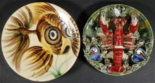 (2) CONTINENTAL ART POTTERY PLATES
