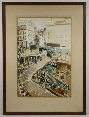 UNSIGNED 1930S WATERCOLOR, FRAMED