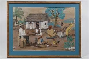 HAITI WATERCOLOR GENRE SCENE
