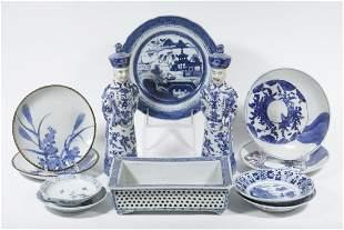 (12 PCS) ASIAN BLUE & WHITE PORCELAIN