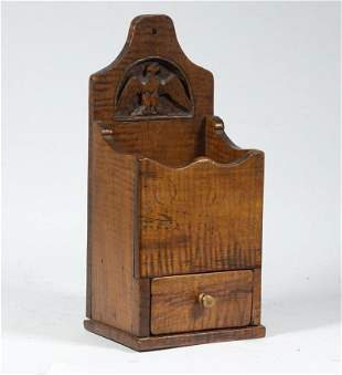 19TH C. TIGER MAPLE ONE DRAWER PIPE BOX