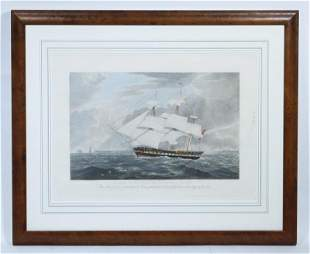 FRAMED 19TH C. SHIP ENGRAVING BY EDWARD DUNCAN