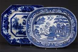 (2) ENGLISH BLUE & WHITE IRONSTONE PLATTERS