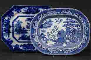 (2) ENGLISH BLUE & WHITE IRONSTONE PLATTERS