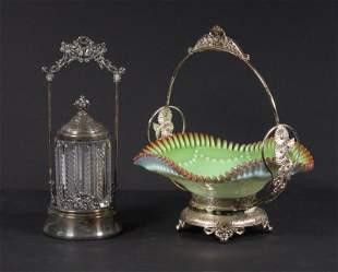 (2 PCS) SILVER-PLATE BRIDE'S BASKET & PICKLE JAR