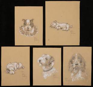 (5) PASTEL DRAWINGS OF DOGS BY ALLAN EDWARDS