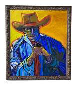 Larry Randall Southwest Cowboy Oil Painting SIGNED