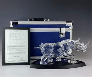 Swarovski Crystal Rhino 2008 LE Figurine Box COA