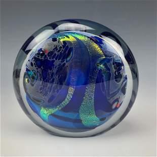 Rollin Karg Studio Art Glass Dichroic Paperweight