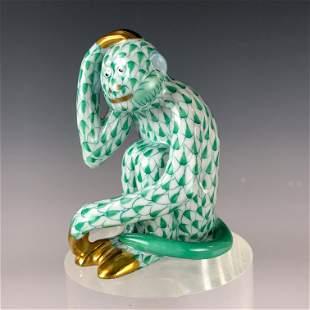 Herend Green Fishnet w/ Gold Gilt Porcelain Monkey