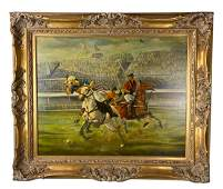 """Signed Kitty Young """"Three Men Polo"""" Oil Painting"""