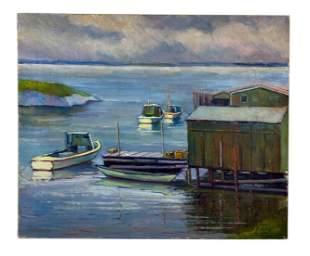 Henry Jacob Gloucester Harbor Scene Oil Painting