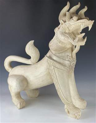 "HUGE Chinese Export 35"" Carved Wooden Foo Lion Dog"