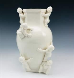 Chinese Blanc De Chine Porcelain Vase w/ Children