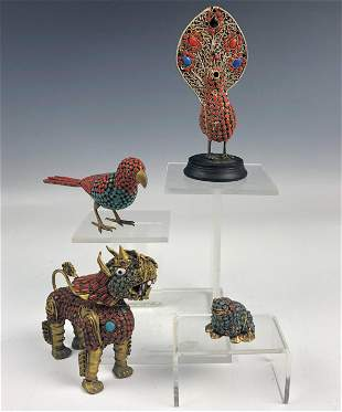 Lot 4 Tibetan Coral Turquoise Gilt Brass Figurines