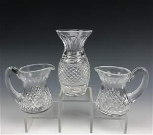 2 Waterford Cut Crystal Milk Creamers & Bud Vase