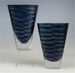 Pair Rosenthal Clear Black Frosted Art Glass Vases